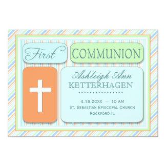 Fresh Spring Stripes First Communion 13 Cm X 18 Cm Invitation Card