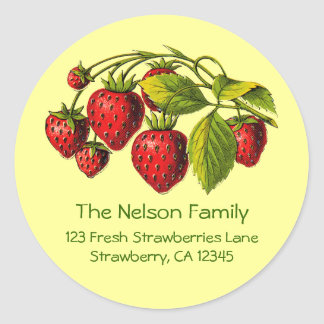 Fresh Strawberries Address Label Round Sticker