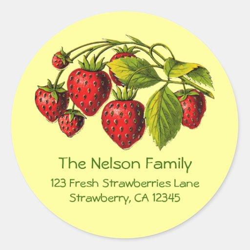 Fresh Strawberries Address Label Round Stickers