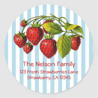 Fresh Strawberries Blue Stripes Round Sticker