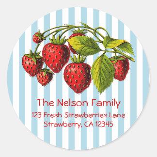 Fresh Strawberries Blue Stripes Round Stickers