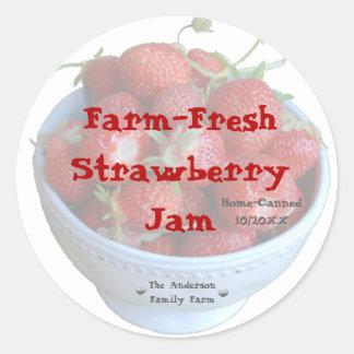 Fresh Strawberry Jam Jar Label (Customise)