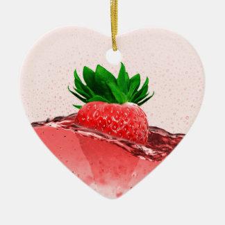 Fresh strawberry juice ceramic ornament