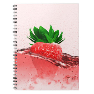 Fresh strawberry juice notebooks