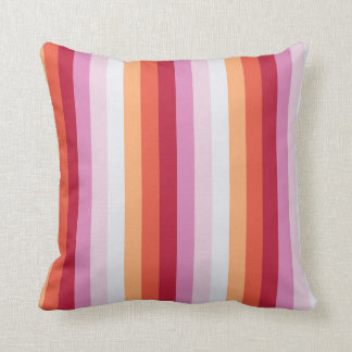 Fresh Stripes in Orange Red and Lilac Cushion