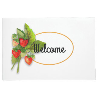 Fresh Summer Berries, Vintage Drawing, Welcome Doormat