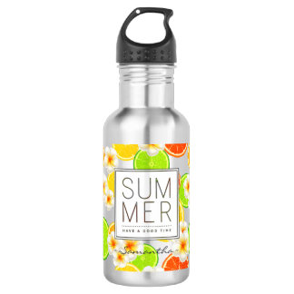 Fresh Summer Fruits and Exotic Plumeria Flowers 532 Ml Water Bottle