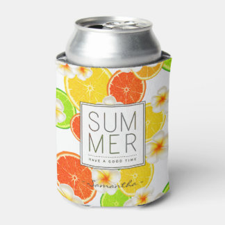 Fresh Summer Fruits and Exotic Plumeria Flowers Can Cooler
