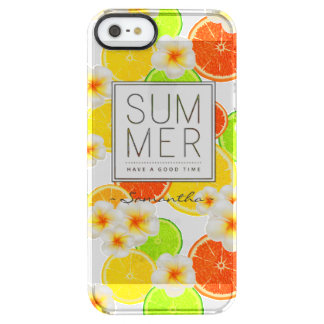 Fresh Summer Fruits and Exotic Plumeria Flowers Clear iPhone SE/5/5s Case