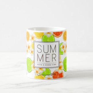 Fresh Summer Fruits and Exotic Plumeria Flowers Coffee Mug