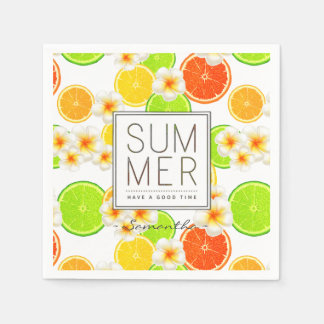 Fresh Summer Fruits and Exotic Plumeria Flowers Disposable Serviettes