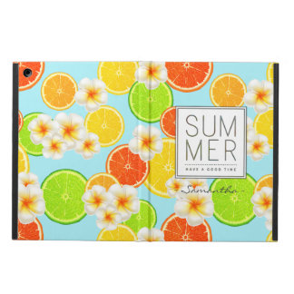 Fresh Summer Fruits and Exotic Plumeria Flowers iPad Air Cover