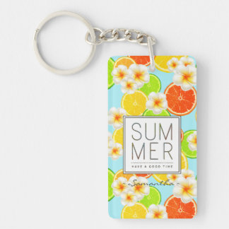 Fresh Summer Fruits and Exotic Plumeria Flowers Key Ring