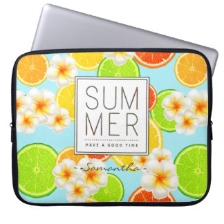 Fresh Summer Fruits and Exotic Plumeria Flowers Laptop Sleeve