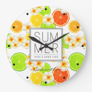 Fresh Summer Fruits and Exotic Plumeria Flowers Large Clock