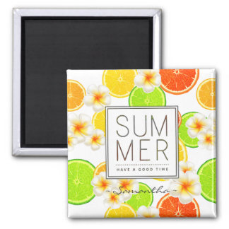 Fresh Summer Fruits and Exotic Plumeria Flowers Magnet