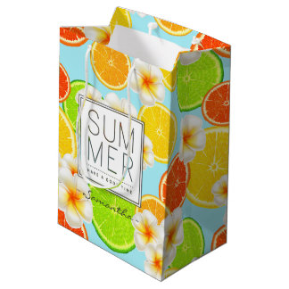 Fresh Summer Fruits and Exotic Plumeria Flowers Medium Gift Bag