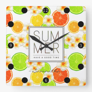 Fresh Summer Fruits and Exotic Plumeria Flowers Square Wall Clock