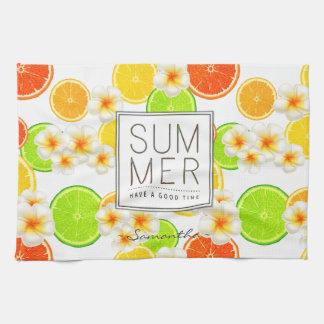Fresh Summer Fruits and Exotic Plumeria Flowers Tea Towel