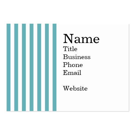 Fresh Teal and White Bold Striped Pattern Business Card Template