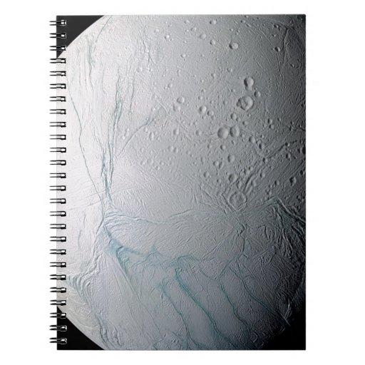 Fresh Tiger Stripes on Enceladus Spiral Notebooks