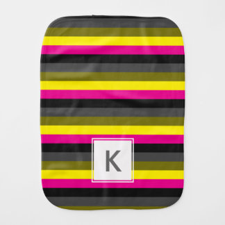 fresh trending neon yellow pink back grey striped baby burp cloth