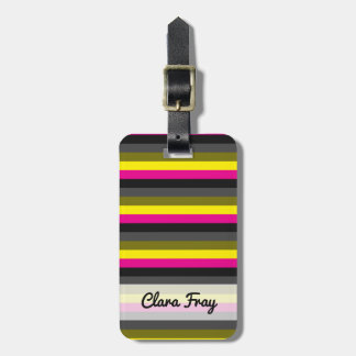 fresh trending neon yellow pink back grey striped bag tag