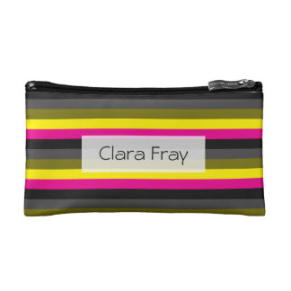 fresh trending neon yellow pink back grey striped cosmetics bags