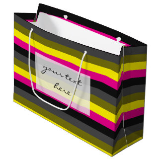 fresh trending neon yellow pink back grey striped large gift bag