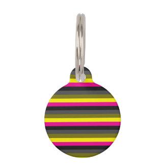 fresh trending neon yellow pink back grey striped pet name tag