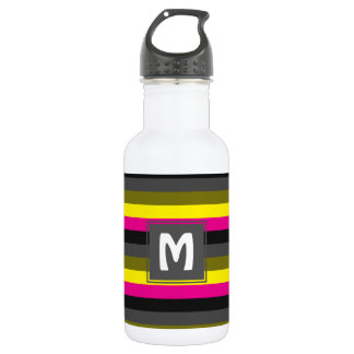 fresh trendy neon yellow pink back grey striped 532 ml water bottle