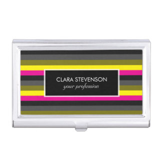 fresh trendy neon yellow pink back grey striped business card holder