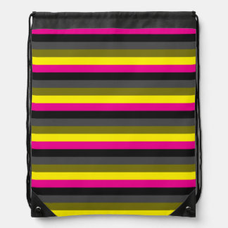 fresh trendy neon yellow pink back grey striped drawstring bag