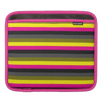 fresh trendy neon yellow pink back grey striped iPad sleeve