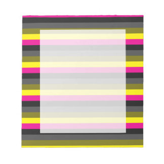 fresh trendy neon yellow pink back grey striped notepad