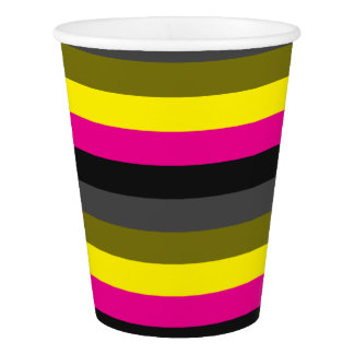fresh trendy neon yellow pink back grey striped paper cup