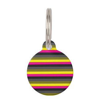 fresh trendy neon yellow pink back grey striped pet tag