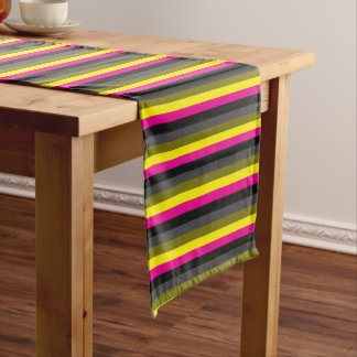 fresh trendy neon yellow pink back grey striped short table runner