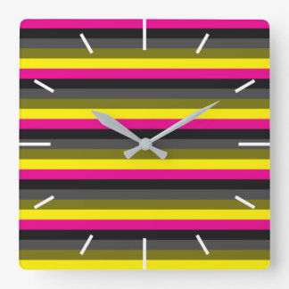 fresh trendy neon yellow pink back grey striped square wall clock