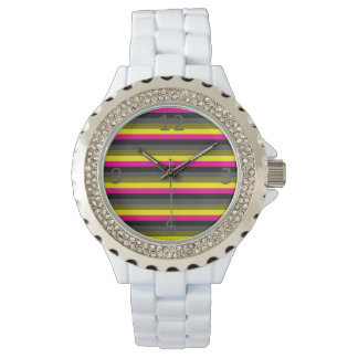 fresh trendy neon yellow pink back grey striped watch
