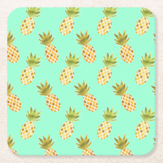 Fresh Tropical Watercolor Pineapple Pattern Square Paper Coaster