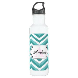 Fresh Turquoise Aquatic chevron zigzag pattern 710 Ml Water Bottle