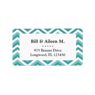Fresh Turquoise Aquatic chevron zigzag pattern Address Label