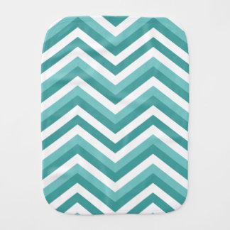 Fresh Turquoise Aquatic chevron zigzag pattern Burp Cloth