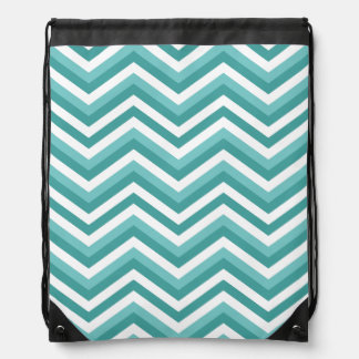 Fresh Turquoise Aquatic chevron zigzag pattern Drawstring Bag