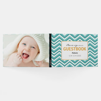 Fresh Turquoise Aquatic chevron zigzag pattern Guest Book