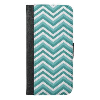 Fresh Turquoise Aquatic chevron zigzag pattern iPhone 6/6s Plus Wallet Case