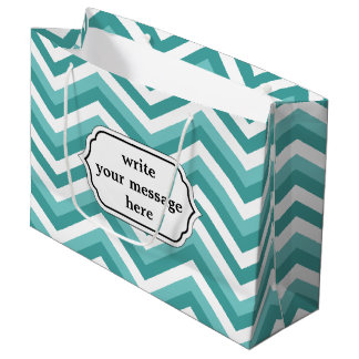 Fresh Turquoise Aquatic chevron zigzag pattern Large Gift Bag