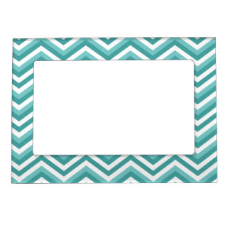 Fresh Turquoise Aquatic chevron zigzag pattern Magnetic Picture Frame