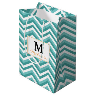 Fresh Turquoise Aquatic chevron zigzag pattern Medium Gift Bag